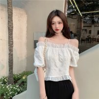 T-shirt white S, M Summer 2021 Short sleeve One word collar have cash less than that is registered in the accounts puff sleeve Sweet polyester fiber 51% (inclusive) - 70% (inclusive) 18-24 years old Solid color Other / other