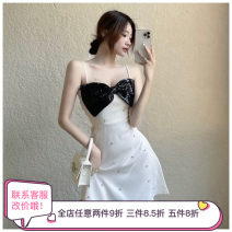 Dress Summer 2021 White, black S,M,L Short skirt singleton  Sleeveless commute High waist camisole Type A other other