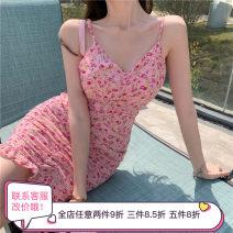 Dress Summer 2021 Floral skirt S, M Middle-skirt singleton  Sleeveless Sweet V-neck High waist camisole 18-24 years old