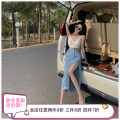 skirt Summer 2021 S, M Blue, black longuette commute High waist Denim skirt Solid color other other Korean version