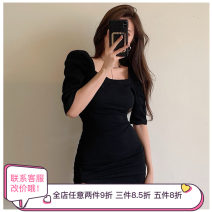 Dress Summer 2021 Gray, black S, M Short skirt singleton  Short sleeve commute square neck High waist Solid color Socket One pace skirt puff sleeve Others Type X Korean version other other
