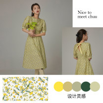 Dress Spring 2021 Don't shoot yellow for reserved space Average size Mid length dress singleton  Short sleeve commute Crew neck Broken flowers other A-line skirt bishop sleeve Others 18-24 years old Type X chuu Korean version Frenulum BHB1238J More than 95% cotton Cotton 100%