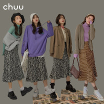 skirt Spring 2021 S M L Zebra Brown reserved space do not take 1 reserved space do not take 2 Mid length dress commute High waist A-line skirt Dot Type A 18-24 years old BHP1202U More than 95% chuu polyester fiber Zipper printing Korean version Same model in shopping mall (sold online and offline)