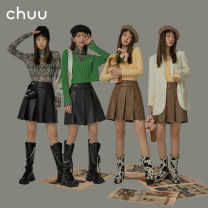 skirt Spring 2021 S M L Black and brown reserved space do not take 1 reserved space do not take 2 reserved space Short skirt commute High waist Pleated skirt Solid color Type A 18-24 years old BHP1205J More than 95% other chuu polyester fiber Pleated button Korean version Polyester 100%