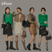 skirt Spring 2021 S M L Short skirt commute High waist Irregular Solid color Type A 18-24 years old More than 95% chuu other Asymmetry Korean version PU Same model in shopping mall (sold online and offline)