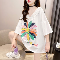T-shirt Orange white black M L XL 2XL Spring 2021 Short sleeve V-neck easy Medium length routine commute Lycra Lycra 30% and below 18-24 years old Korean version originality letter Pearl girl 922# Embroidery Polyurethane elastic fiber (spandex) 5% other 95% Pure e-commerce (online only)