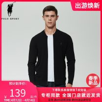 T-shirt / sweater Polo Sport Fashion City black M,L,XL,2XL,3XL routine Cardigan Crew neck Long sleeves 11B723035 spring and autumn Slim fit 2021 Viscose (viscose) 75.4% polyester 24.6% leisure time Basic public youth routine other other Fine wool (16 and 14 stitches) other other