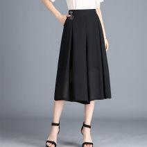 Casual pants Black seven, blue seven M,L,XL,2XL,3XL,4XL Spring 2020 Cropped Trousers Wide leg pants Natural waist commute 91% (inclusive) - 95% (inclusive) WHK513 Cnhp (clothing) Korean version
