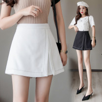 Casual pants Black and white S M L XL 2XL Summer 2021 shorts Wide leg pants High waist commute routine 25-29 years old Rose with thorns - two thousand seven hundred and nineteen Mo Luoyan polyester fiber Korean version zipper polyester fiber Polyester 100% Pure e-commerce (online only) Asymmetry