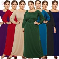 Dress Spring of 2019 Red, purple, green, black, apricot, lake blue, dark blue M,L,XL,2XL,3XL longuette singleton  Long sleeves Crew neck Elastic waist Solid color Socket Big swing other Others Collage / stitching other other