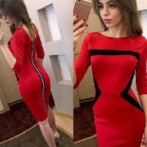 Dress Spring of 2018 Black, red, blue S,M,L,XL,2XL Miniskirt singleton  three quarter sleeve street Crew neck middle-waisted Solid color zipper Pencil skirt routine Others Type H Other / other Open back, stitching, zipper 81% (inclusive) - 90% (inclusive) brocade polyester fiber Europe and America