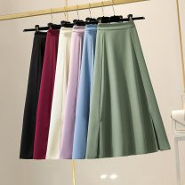 skirt Spring 2021 S,M,L,XL Purple, apricot, black, red Mid length dress Versatile High waist Umbrella skirt Solid color Type A 25-29 years old More than 95% other polyester fiber Zipper, fold