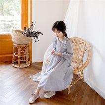 Dress spring and autumn Korean version Pure cotton (100% cotton content) stripe Class B female Enyakids Cotton 100% Three, four, five, six, seven, eight, nine, ten, eleven, twelve, thirteen, fourteen Long sleeve 80710 blue 110cm,120cm,130cm,140cm,150cm,160cm,165cm
