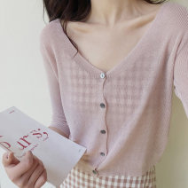 Wool knitwear Summer 2020 S,M,L White, black, apricot, pink three quarter sleeve singleton  Cardigan other 51% (inclusive) - 70% (inclusive) have cash less than that is registered in the accounts Thin money commute easy V-neck Single breasted Retro 18-24 years old Other / other