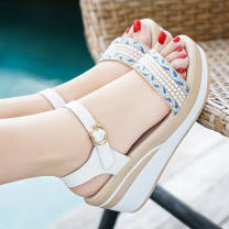 Sandals 35 36 37 38 39 40 White black EVA Qiao Xuan Fish mouth Muffin bottom High heel (5-8cm) Summer of 2019 Flat buckle Korean version Solid color Adhesive shoes Youth (18-40 years old) rubber daily Back space rhinestone Low Gang Hollow XD_ T3QmM_ 3px3hl5 Fashion sandals Shaving