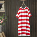 Dress Summer 2020 Red and white, black and white, gray and white Average size Mid length dress singleton  Short sleeve commute Crew neck Loose waist stripe Socket routine Type H literature More than 95% cotton
