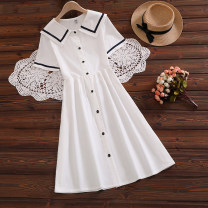 Dress Summer 2021 White, Navy S,M,L,XL,2XL longuette singleton  Short sleeve Sweet Admiral middle-waisted Solid color Single breasted A-line skirt routine Other / other 51% (inclusive) - 70% (inclusive) cotton