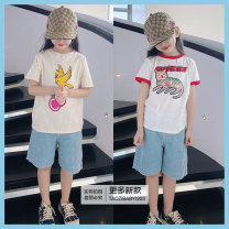 T-shirt Kitten short sleeve , Bird short sleeve , Model's Corduroy shorts , Run single pull black! No reason for not supporting seven days!! Other / other 90cm,100cm,110cm,120cm,130cm,140cm,150cm,S,M,L neutral Short sleeve There are models in the real shooting nothing cotton Interesting pattern