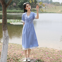 Dress Summer 2021 Blue short sleeves, blue long sleeves S,M,L,XL Mid length dress singleton  Short sleeve commute Admiral High waist Solid color A-line skirt routine Others 18-24 years old Type H Retro zipper
