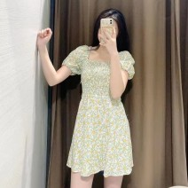 Dress Spring 2021 Green and yellow floral skirt XS,S,M,L TRAF