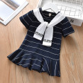 Dress female Other / other Cotton 95% other 5% summer motion Short sleeve stripe cotton Lotus leaf edge Class B 12 months, 6 months, 9 months, 18 months, 2 years old, 3 years old, 4 years old, 5 years old Chinese Mainland Guangdong Province Foshan City