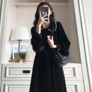 Dress Winter 2020 black S M L XL Mid length dress singleton  Long sleeves commute Polo collar Loose waist Solid color Single breasted other routine Others 18-24 years old Type H Confident girl Korean version Lotus leaf edge CG003707 More than 95% other Other 100% Exclusive payment of tmall