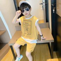 suit Sylkie Yellow black 100cm 110cm 120cm 130cm 140cm 150cm 160cm male summer leisure time Short sleeve + pants 2 pieces Thin money There are models in the real shooting Socket nothing Solid color cotton children Expression of love X20D2021053 Spring 2021 Chinese Mainland Zhejiang Province