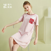 Nightdress Top melon Lotus powder, primrose yellow, moss green, colored cotton rice, orange red, glacier blue 160,165,170 Sweet Short sleeve Leisure home longuette summer Cartoon animation youth Crew neck cotton printing More than 95% Knitted cotton fabric AN23068 200g and below
