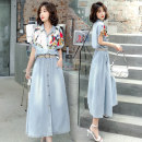 Dress Summer 2021 Picture color M,L,XL,2XL Mid length dress singleton  Short sleeve street Polo collar Elastic waist Big swing Sleeve 18-24 years old Type A Other / other QX1769 Denim Europe and America