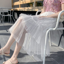 skirt Summer 2021 One size fits all White, black, apricot Mid length dress fresh High waist A-line skirt Solid color Type A Under 17 QIGU5290 Other / other Splicing