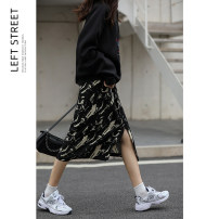 skirt Autumn 2020 S,M,L Mid length dress commute High waist other Broken flowers Type A 18-24 years old polyester fiber printing