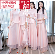 Dress / evening wear Wedding, adulthood, company annual meeting, performance Light grey, pink Retro longuette High waist Autumn 2020 Fall to the ground stand collar zipper Lace + Chiffon 18-25 years old Nine point sleeve routine 71% (inclusive) - 80% (inclusive)