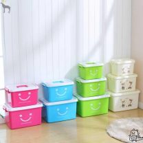 Storage box Plastic Sky blue smiley face rose red smiley face green smiley face Beige bear print Pulley without portable large: 45 * 33 * portable small: 29 * 20 * 19 portable medium: 36 * 24 * 22 portable large: 42 * 28 * 25 large, medium and small three piece set 0.5kg Flute music