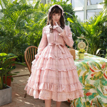 Dress Spring of 2019 XS,S,M,L,XL,2XL Mid length dress singleton  Long sleeves Sweet Doll Collar High waist Solid color Single breasted Big swing Princess sleeve Others 18-24 years old Type A other cotton Lolita