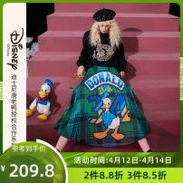skirt Winter 2020 S,M,L Postman green Mid length dress commute Natural waist A-line skirt Cartoon animation Type A 18-24 years old 1041_ AL7005 More than 95% Elf sack / goblin's pocket polyester fiber printing Retro