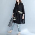 Women's large Summer 2021 black shirt singleton  commute easy thin Cardigan letter literature Polo collar Medium length cotton printing and dyeing routine Other / other Button Middle-skirt other