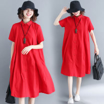 Women's large Summer 2021 gules Dress singleton  commute easy Cardigan Short sleeve Solid color literature Polo collar Medium length Cotton, hemp routine Other / other Button Middle-skirt other