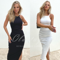 Dress Spring 2021 White jaiya MIDI dress-white, black jaiya MIDI dress-BLACK 6,8,10,12,14 Middle-skirt singleton  Sweet One word collar High waist Solid color One pace skirt routine camisole 25-29 years old fold 71% (inclusive) - 80% (inclusive) polyester fiber
