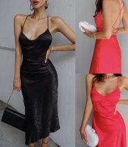 Dress Spring 2021 Black, red 6,8,10,12,14 longuette singleton  Sleeveless commute V-neck High waist Solid color One pace skirt routine camisole 25-29 years old Type H Other / other backless electra slip dress polyester fiber