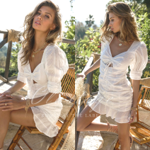 Dress Spring 2021 White Alia Mini dress-white 6,8,10,12,14 Short skirt singleton  Short sleeve Sweet V-neck High waist Solid color Socket A-line skirt routine 25-29 years old Type A cotton