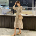 Women's large Spring 2021 Blue apricot S M L XL Dress singleton  commute Socket Long sleeves Broken flowers Retro Crew neck routine 0082# Yingduo language 25-29 years old longuette Other 100% Exclusive payment of tmall other
