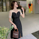 Women's large Summer 2021 Black short black long S M L XL Dress singleton  commute Socket Short sleeve Solid color Retro V-neck puff sleeve 8899-01 Yingduo language 25-29 years old Medium length Other 100% Pure e-commerce (online only) other