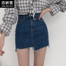 skirt Summer 2020 XS,S,M,L,XL Light blue, dark blue Short skirt commute High waist A-line skirt Solid color Type A 18-24 years old 71% (inclusive) - 80% (inclusive) Denim cotton Tassels, pockets, asymmetry, buttons Korean version