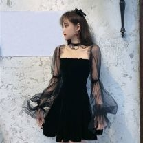 Dress Spring 2021 Black, hold on S,M,L,XL,2XL Short skirt singleton  Long sleeves puff sleeve Mesh, solid