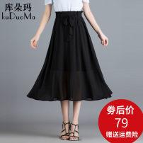 skirt Summer of 2019 M L XL 2XL 3XL 4XL Black blue Mid length dress Versatile High waist A-line skirt Solid color Type A KDM-9968 Chiffon Kudoma Frenulum Pure e-commerce (online only)