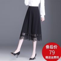 skirt Spring 2021 M L XL 2XL 3XL 4XL black longuette commute High waist A-line skirt Solid color Type A 25-29 years old LDNS-9612 Lace Kudoma Lace