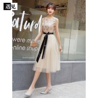 Dress Spring 2021 Champagne gold medium long S. M, l, XL, XXL, XXXL, customized, no return contact Mid length dress other Sleeveless other middle-waisted other other other other 18-24 years old Other / other other other
