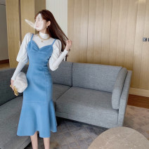 Women's large Spring 2021 White base coat + blue dress S M L Two piece set commute Socket Long sleeves Solid color Korean version Crew neck puff sleeve Wu Ning 18-24 years old longuette Other 100% Pure e-commerce (online only)