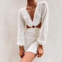 Dress Spring 2021 White, black, orange, pink, stripe S,M,L 30% and below cotton