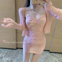 Fashion suit Spring 2021 S,M,L,XL Smash flower suspender skirt, pink cardigan, smash flower suspender skirt + pink cardigan 2E5FE4070